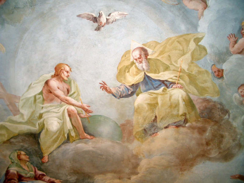 Fresco of the Holy Trinity by Luca Rosetti  Chuch of San Gaudenzio  Torino  Italy. Public Domain via Wikidmedia Commons